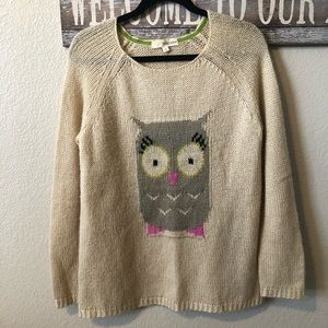 Adorable Rewind Owl Pullover Sweater. Size Large.